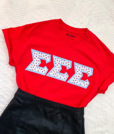 sorority letter shirt