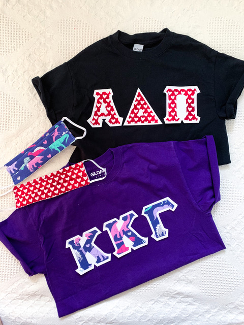 Sorority Letter Shirts and Masks