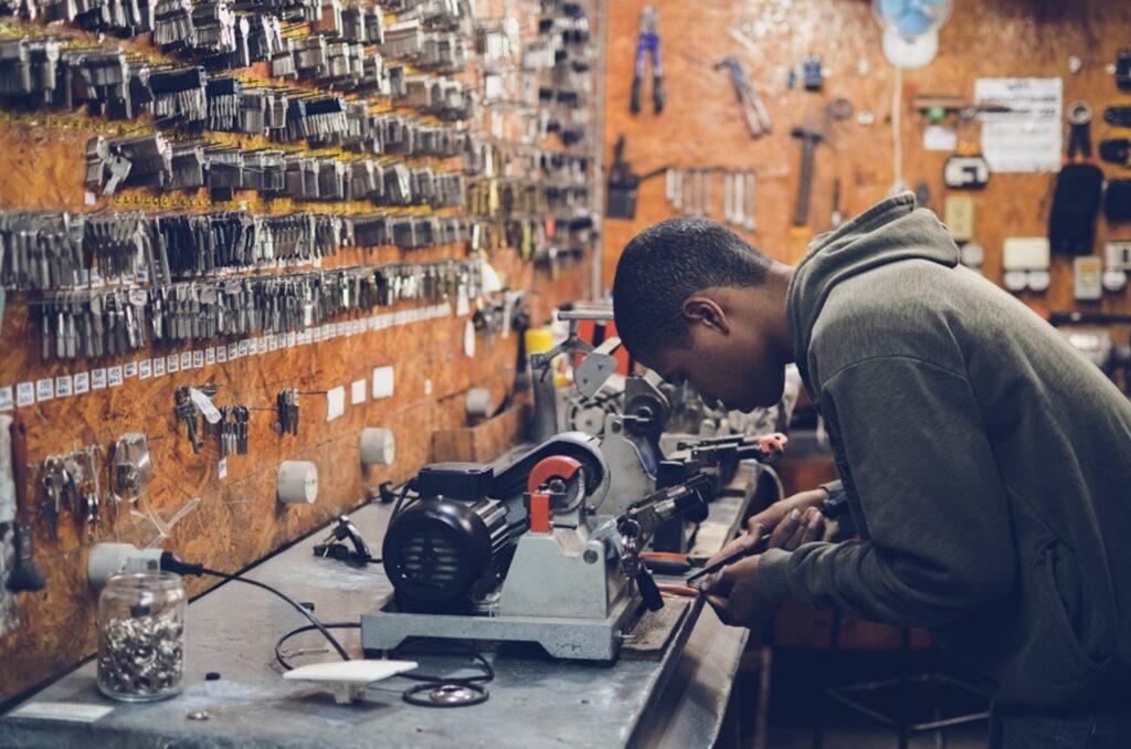 student working in a metals studio