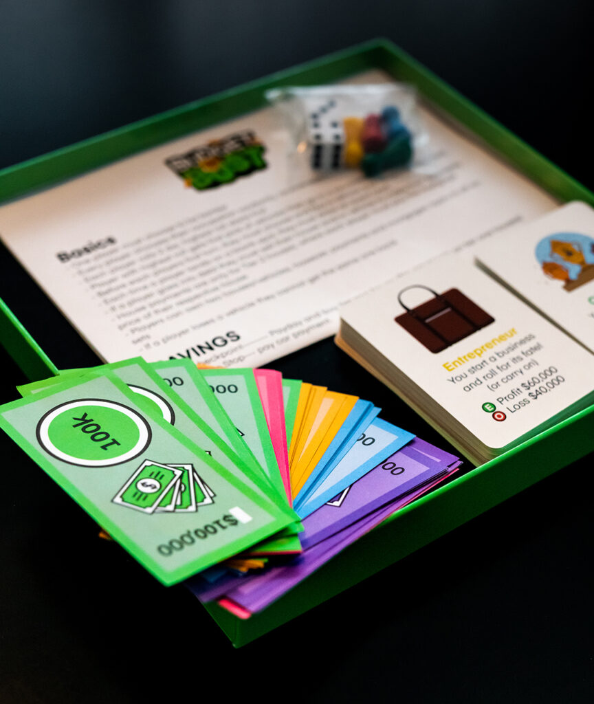 money cards within Finlit board game set